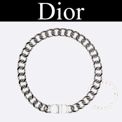 Dior ネックレス・チョーカー Dior ネックレス ICON ロゴ チェーン 真鍮 樹脂 シルバー 新作