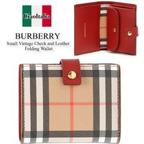 Burberry Small Vintage Check and Leather Folding Wallet