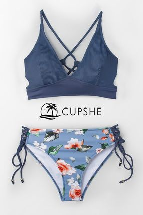 新作【CUPSHE】BLUE AND FLORAL LACE-UP ビキニ水着 上下set