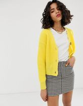 River Island cardigan with jewelled buttons in yellow