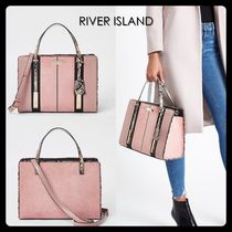 【River Island】英国発!スネーク柄 panel 2Way バッグ ピンク