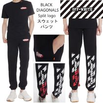 【OFFWHITE】BLACK DIAGONALS split logo スウェットパンツ/19SS