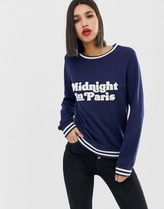 Warehouse slogan sweatshirt with contrast tipping in navy