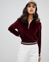 ASOS DESIGN velour sweat with collar and contrast tipping
