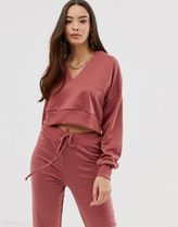 Boohoo exclusive co-ord v neck crop sweat in dark rose