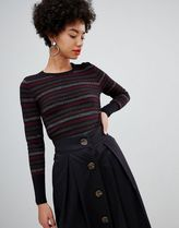 Warehouse jumper with glitter stripes in black