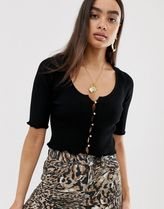 DESIGN short sleeve button front cardigan with scoop neck