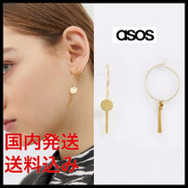 国内発送*ASOS*hoop earrings with disc and chain tassel