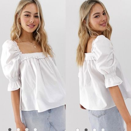 square neck long sleeve top in cotton