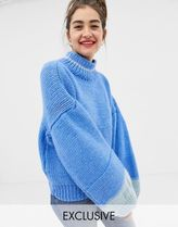 OneOn hand knitted colourblock jumper with balloon sleeve