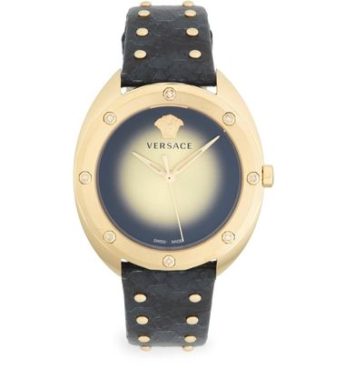 Versace Goldtone Stainless Steel,Diamond&Leather-Strap Watch