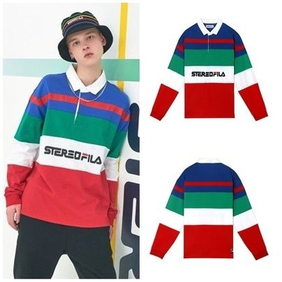 STEREO VINYLS COLLECTION ポロシャツ STEREO VINYLSの[SS19 STEREO X FILA] Color block Rugby Shirts