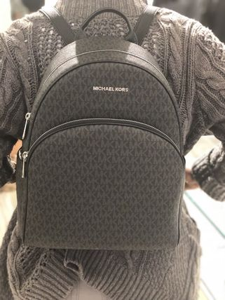 03772b84f5e4 Michael Kors バックパック・リュック MICHAEL KORS ABBEY LARGE BACKPACK BLACK MK  SIGNATURE PVC ...