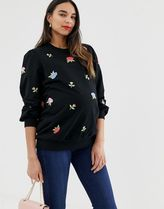 ASOS DESIGN Maternity sweatshirt with floral embroidery