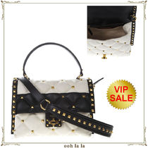 《VIP PRICE》VALENTINO CANDY STUD MINI BAG CANVAS+Leather