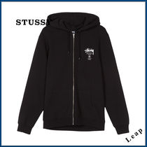 【STUSSY】人気☆WORLD TOUR ZIP HOOD ブラック★