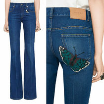 GUCCI★素敵!Blue Wash BEE & BUTTERFLY PATCH Flared JEANS