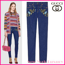 GUCCI★グッチ★素敵!Blue FLORAL EMBROIDERY SKINNY JEANS