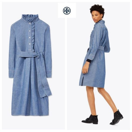 国内発 関税無★Tory Burch★DENEUVE DENIM SHIRTDRESS