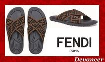 ◆ 送関込  【FENDI】 Multicolour fabric slides ◆