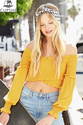CUPSHE Tシャツ・カットソー 新作・日本未入荷【CUPSHE】YELLOW SMOCKED WRAP TOP