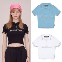 ★SCULPTOR★韓国 ロゴ ニット Glitter Polo Knit top【全3色】