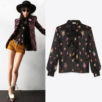 19SS WSL1492 LAME STAR EMBELLISHED SILK BLOUSE WITH BOW