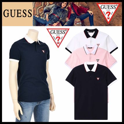 Guess Tシャツ・カットソー ☆イベント/関税込☆GUESS★ロゴポイント★刺繍 Collar T★3色