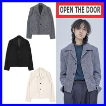 [OPEN THE DOOR] collar tweed short jacket(3色)-UNISEX/追跡付