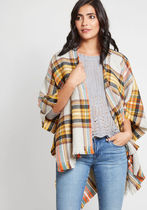 Thanks for Cabin Me Plaid Shawl in Mustard