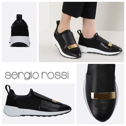 SERGIO ROSSI SR1 RUNNING SNEAKERS IN LEATHER AND MESH