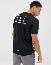 Nike Running dry miler t-shirt in black with back print