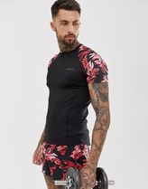 ASOS 4505 muscle training t-shirt with floral contrast rag