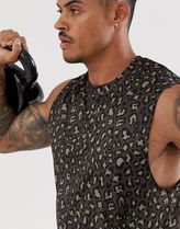 ASOS 4505 training sleeveless t-shirt in leopard print wit