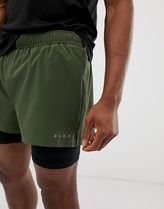 ASOS 4505 training 2 in 1 shorts in khaki with quick dry