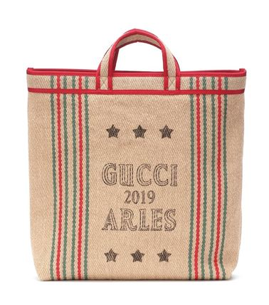 Gucci♪Printed jute and linen tote