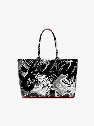black and white cabata graffiti print tote(送料・関税込)sale