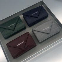 BALENCIAGA Papier Mini Wallet Embossed Croco Calf Leather