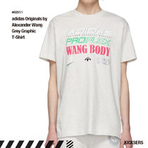 人気話題 adidas x Alexander Wang Grey Graphic T-Shirt