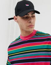 ASOS DESIGN baseball cap in black with watermelon embroidery