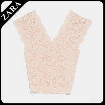 ★ZARA TRF★  LACE TOP WITH ELASTIC DETAILING