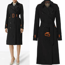 BB195 LEATHER DETAIL COTTON GABARDINE TRENCH COAT