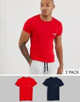 Emporio Armani 2 pack logo lounge t-shirt in navy/red