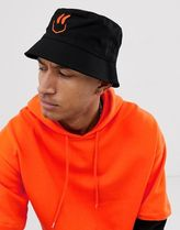 ASOS DESIGN bucket hat with neon smile embroidery