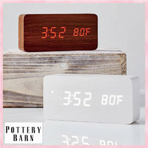 大人気*PotteryBarn*Faux-Wood Alarm Clock/目覚まし時計2色