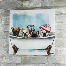 Oliver Gal 大きめ 61x61cm Frenchies in the Tub アート
