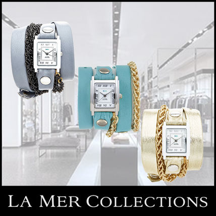 **LA MER COLLECTIONS**★SQUARE MOTOR CHAIN WATCH★腕時計 3色