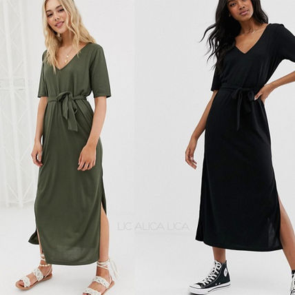 国内発送ASOS DESIGN soft touch belted maxi dress