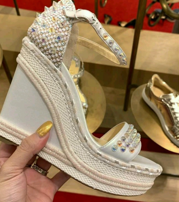 the best attitude bd035 4655b Christian Louboutin Madmonica 2019 SS Studded Leather Platform & Wedge  Sandals
