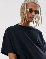 metal oval sunglasses in gold with smoke lens and hold chain